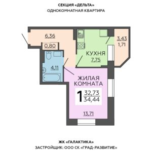 Однокомнатные квартиры ЖК Галактика