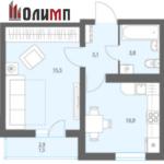Однокомнатная квартира 34.8 кв.м