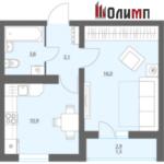 Однокомнатная квартира 35,3 кв.м