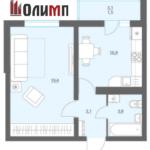Однокомнатная квартира 38,7 кв.м