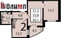 Двухкомнатная 56.1 кв. м
