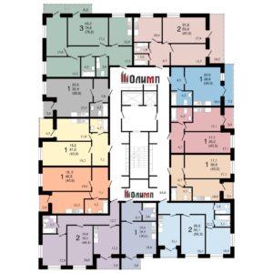 Планировка квартир в ЖК Современник, корпус 7, этажи с 7 по 16